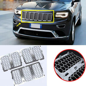 Fits Jeep Grand Cherokee 2014 2016 Chrome Inserts Honey Comb Mesh Grille Trim