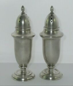 Antique Matched Pair 950 Fine Silver Salt Pepper Shakers 60g Not Weighted