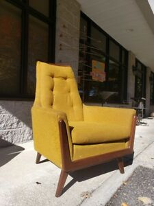 Retro Mid Century Modern Yellow Arm Lounge High Back Vintage Chair By Rowe