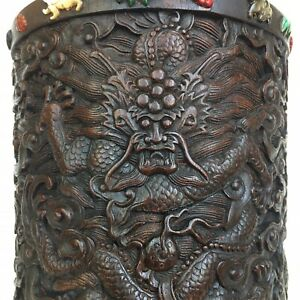 Chinese Zitan Carved 3 Dragan Brush Pot W Multi Stone Antique Awesome 5 5 X5