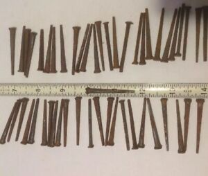 Vintage Barn Find 50 Rusty Nos 1 3 4 Square Cut Flat Head Nails