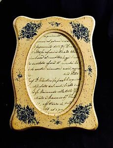 Sezzatini Firenze Made In Italy Hand Painted Wooden Oval Picture Frame
