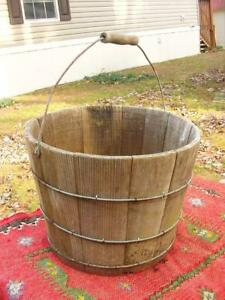 Antique 1800s Nh Made Wood Swing Handled Bucket Pail From Bretwood Farm Keene Nh