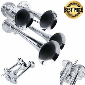 Super Four Trumpet Train Air Horn 149db Loud Compact Car Motorcycle Professional