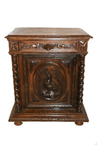 Terrific French Antique Hunt Cabinet Barley Twist Carvings 19th Century Oak