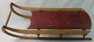 Antique Primitive Child S Wooden Sled Original Paint Exceptional Condition