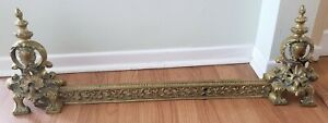 Antique French Empire Brass Expandable Adjustable Fireplace Fender Heart Decor