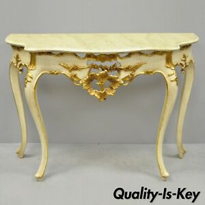 Vintage French Louis Xv Rococo Style Cream Gold Gilt Console Hall Sofa Table