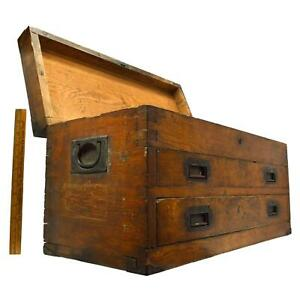 Antique Dovetail Wood Machinist Chest Sexy Old 2 Drawer Tool Box Brass Hardware