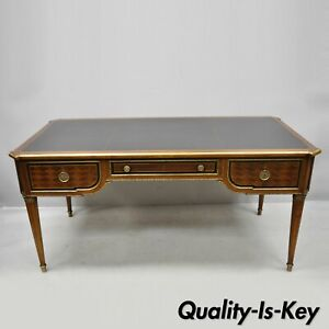 French Louis Xvi Black Leather Top Bureau Plat Desk By Sim N Loscertales Bona