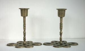 Pair Of Old Chinese Brass Candlesticks