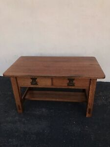 Antique Solid Oak Arts Crafts Mission Imperial Library Table Desk Quartersawn