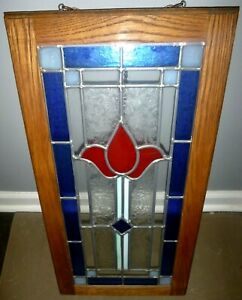 Antique Leaded Stained Glass Cabinet Bookcase Door Window Flower
