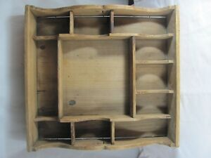 Primitive Wooden Divided Tray Or Miniatures Display Cut Out Hearts