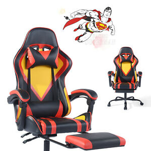 Furniturer Leather Gaming Office Chair High Back Ergonomic Computer Executive