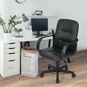 Office Desk Chair Mid back Manager Chair Swivel Task Chair With Arms Black