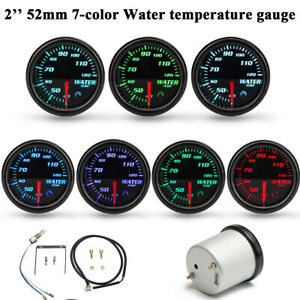 52mm Car Auto Pointer Colors Adjustable Water Temp Temperature Gauge Kit Black