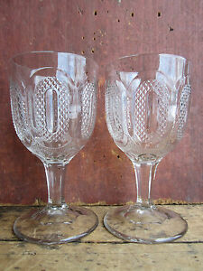 Antique Eapg Pair Civil War Era New England Pressed Glass Buckle Pattern Goblets