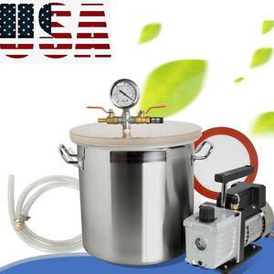 5gallon Vacuum Chamber 3cfm Single Stage Pump To Degassing Silicone Machine Tool