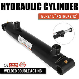 Hydraulic Cylinder 1 5 Bore 12 Stroke Double Acting Forestry Quality Welded