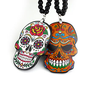 Sugar Skull Rearview Mirror Car Auto Hanging Charm Dangling Beaded Pendant Style