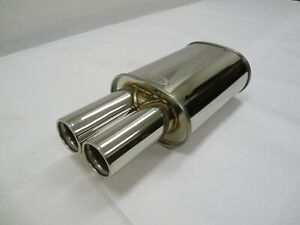 Maximizer Stainless Steel Universal Muffler With Dual Oval Cut Tip 1pc