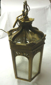 Vintage Hanging Gilded Lamp Fixture W Ripple Glass Panels Gothic Style