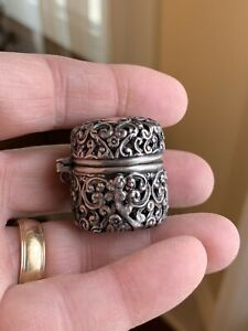 Rare Art Nouveau Sterling Silver Chatelaine Thimble Case Holder Unger Bonus