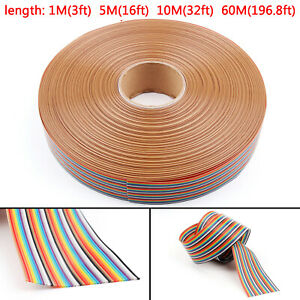 10 12 14 16 20 26 30 34 40pin Color Rainbow Ribbon Wire Cable Flat 1 27mm T2