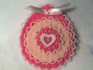 Valentine Victorian Inspired Ornament Beaded Heart Christmas Easter Pink