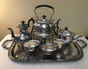 Vintage Cheltenham Sheffield England Tea Set Black Handles 6 Pcs Tray