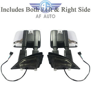 Pair Chrome Towing Mirror Power Heated Signal Spotlight For 2015 2017 Ford F150