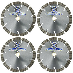 4pack 14 Turbo Segmented Diamond Blade Slanted Keyhole Gullet Stucco Sandstone