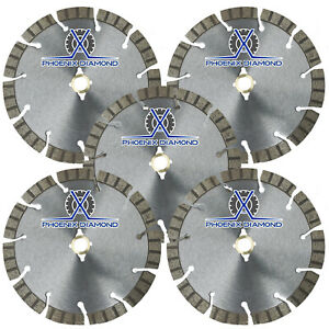 5pack 14 Turbo Segmented Diamond Blade Slanted Keyhole Gullet Stucco Sandstone
