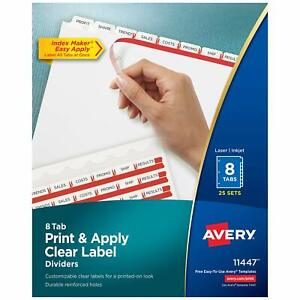 Avery 8 tab Binder Dividers Easy Print Apply Clear Label Strip Index Maker