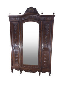 Striking Antique French Breton Armoire Mirrored Door 19th Century