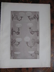 Ornamental Glass Shade Gas Wall Sconce Light Fitting C1870 Photogravure