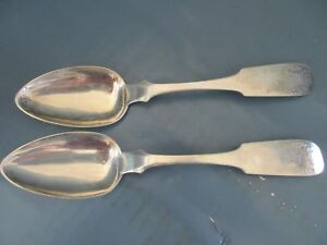 Pair Antique Coin Silver 9 Serving Spoons P Fries Philadelphia