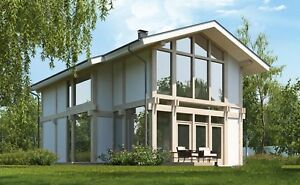 Prefab Timber Frame Kit Engineered Wood House Diy Building Cabin Home 2065 Sq ft