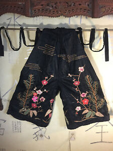 Spectacular Vintage Silk Hakama Pants Fab Floral Embroidery Gold Couching Lined