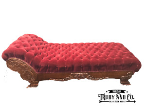 Antique Late 1800s Tufted Red Velvet Victorian Fainting Couch Chaise Lounge