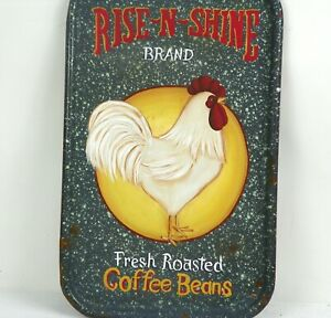 Rooster Coffee Sign Hand Painted Primitive Folk Art Farmhouse Kitchen Rjpe