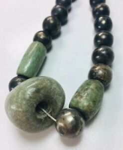 Ancient Mayan Green Jade Pre Columbian Mezacala Polished Bead Silver Necklace