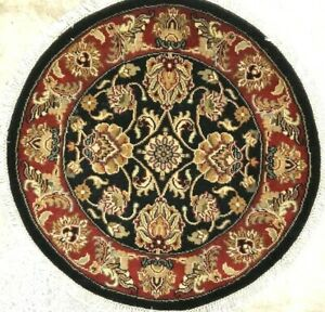 3 F Round Hand Knotted Persian Tabrizi Serapi Tribal Rug 100 Wool Durable Agra