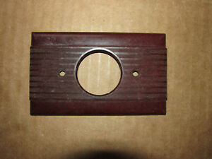 Vintage Round Single Outlet Cover Plate Ribbed Dark Brown Bakelite