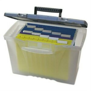 Portable File Storage Box W organizer Lid Letter legal Clear