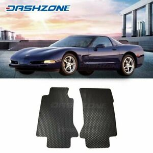 All Weather Black Rubber Floor Mats Liners Front Fit 1997 2004 Chevy Corvette