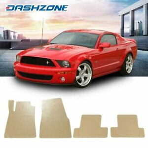 All Weather Beige Floor Mats Liners Front Rear Set Fit 2005 2009 Ford Mustang