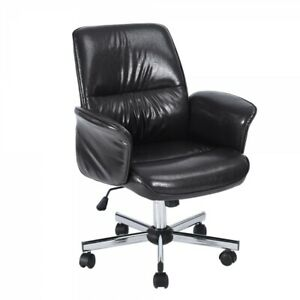 Faux Leather Upholstered Swivel Executive Chair In Black With Chrome Base