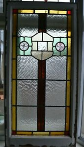 British Leaded Light Stained Hammered Glass Window Panel R895